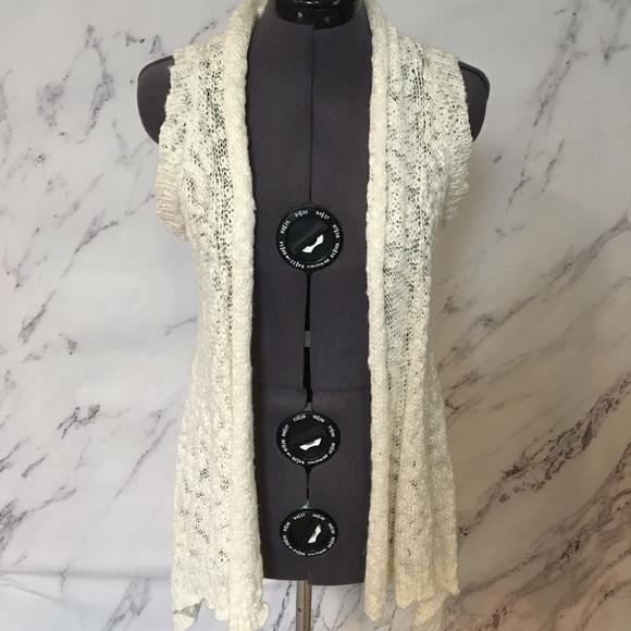 White Fluffy Knit Decree Vest Size M